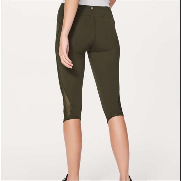 lululemon athletica Pants - Lululemon cropped olive green leggings, mesh panel